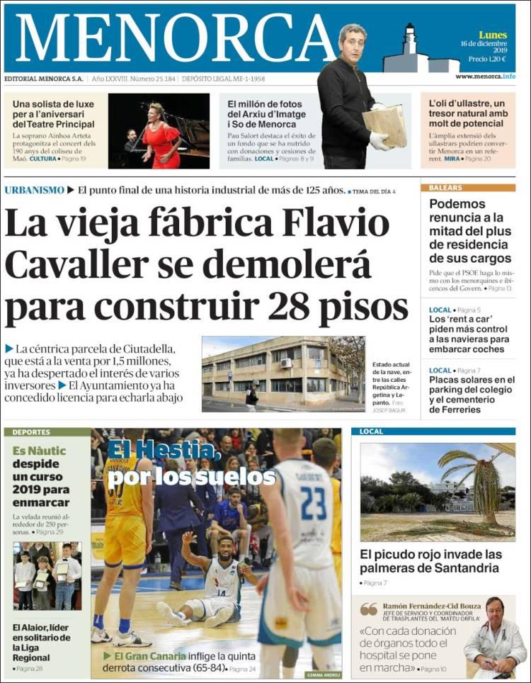 Portada de Menorca - Diario Insular (Spain)