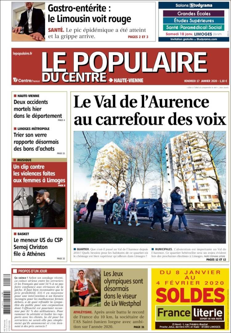 Portada de Le Populaire du Centre (Francia)