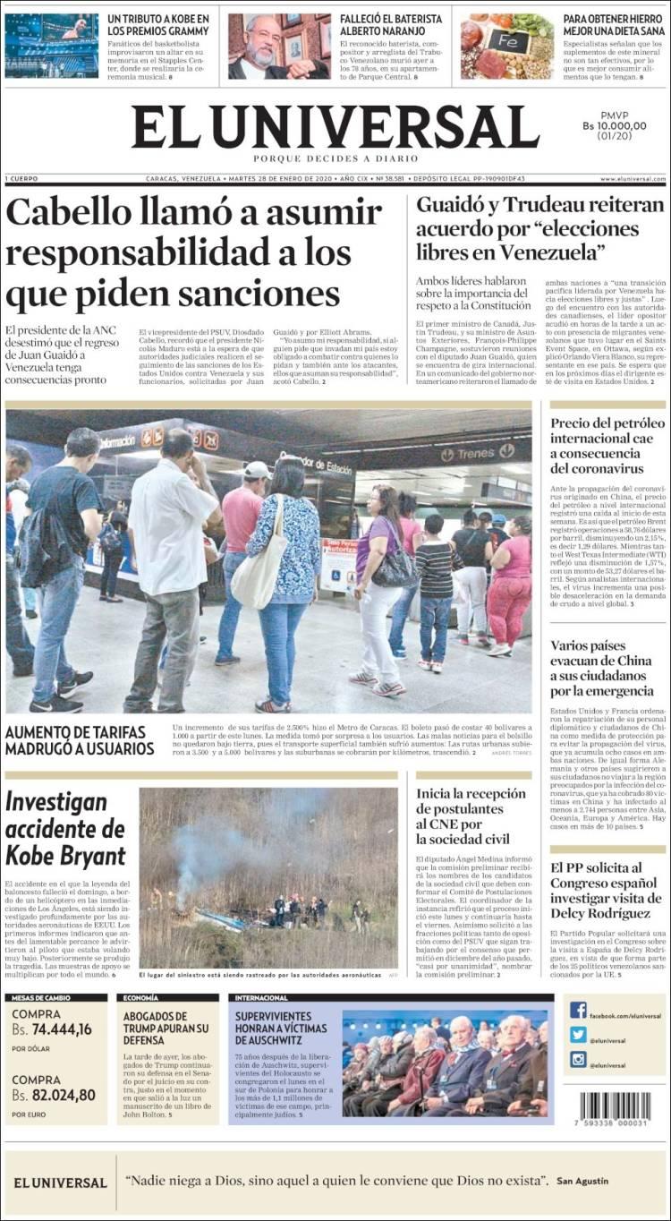 Portada de Universal (Venezuela)