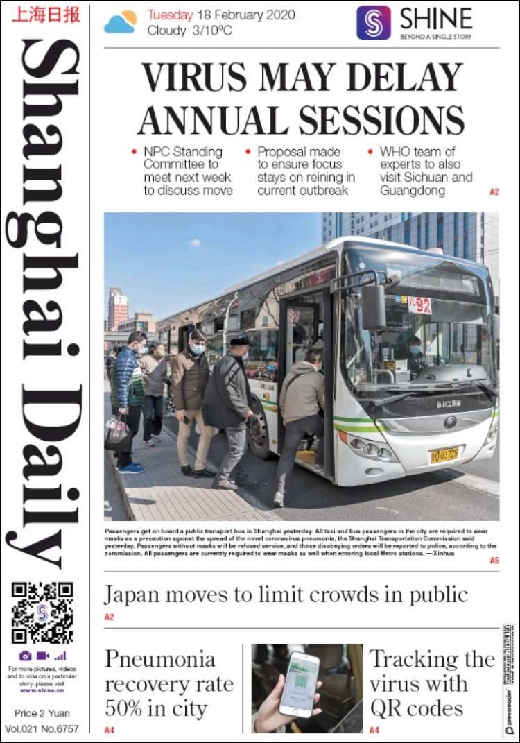 Portada de Shanghai Daily (China)
