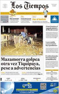 Portada de Los Tiempos (Bolivia)