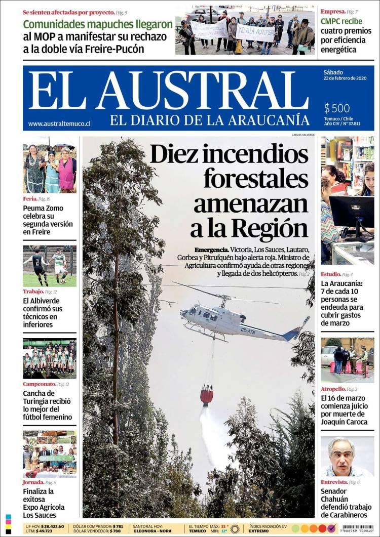 Portada de El Austral de Temuco (Chile)