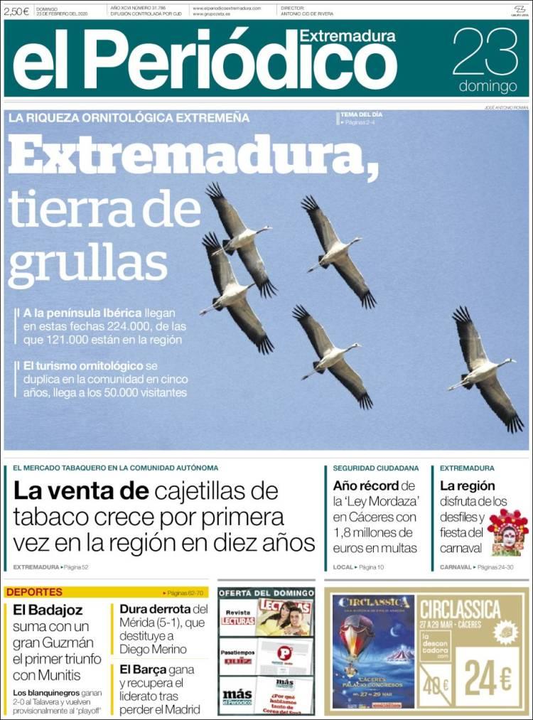 Portada de El Periódico de Extremadura (Spain)