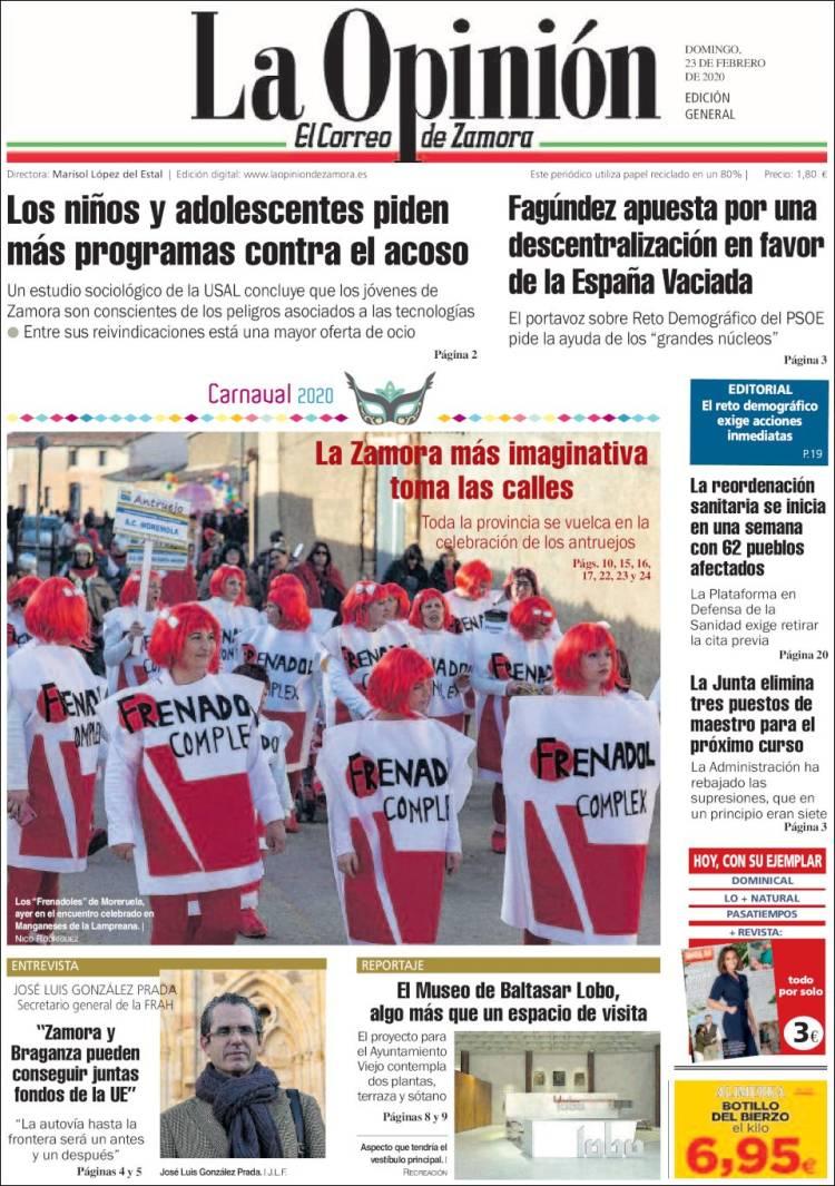 Portada de La Opinión - El Correo de Zamora (Spain)