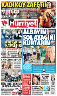 Portada de Hürriyet (Turquía)