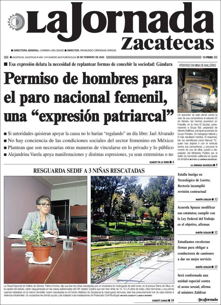 Portada de Jornada de Zacatecas (México)