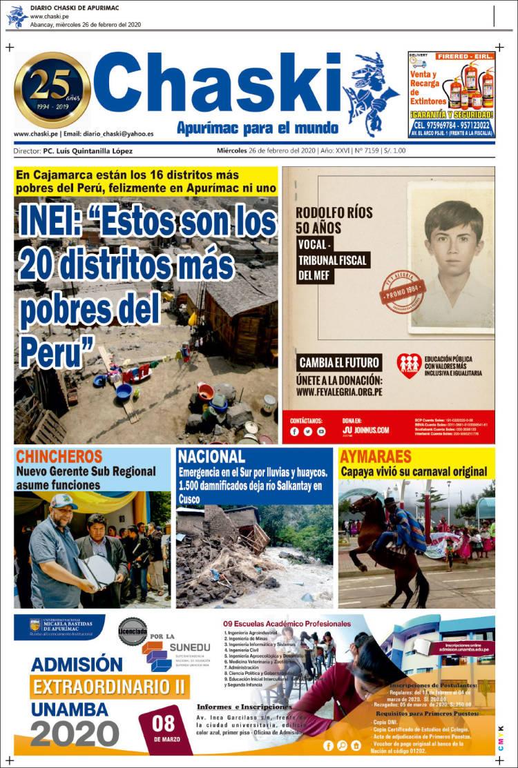 Portada de Diario Chaski (Perú)