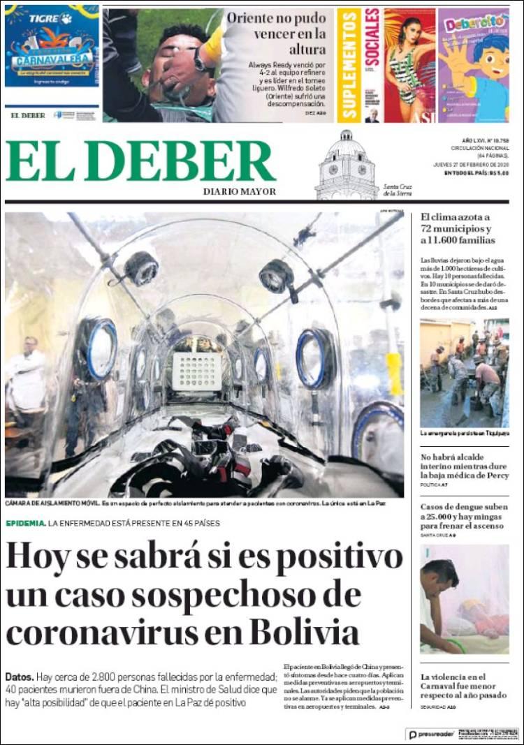 Portada de El Deber (Bolivia)