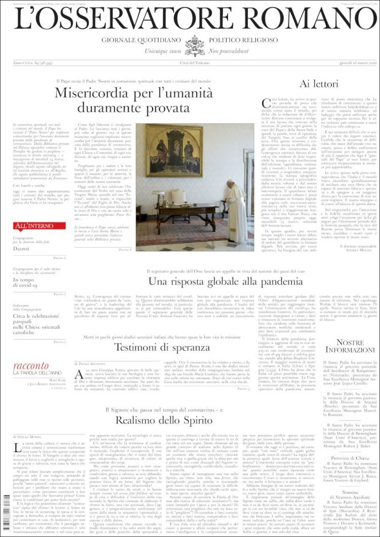 Portada de L'Osservatore Romano (Italie)