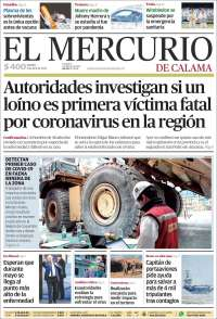 Portada de El Mercurio - Calama (Chile)