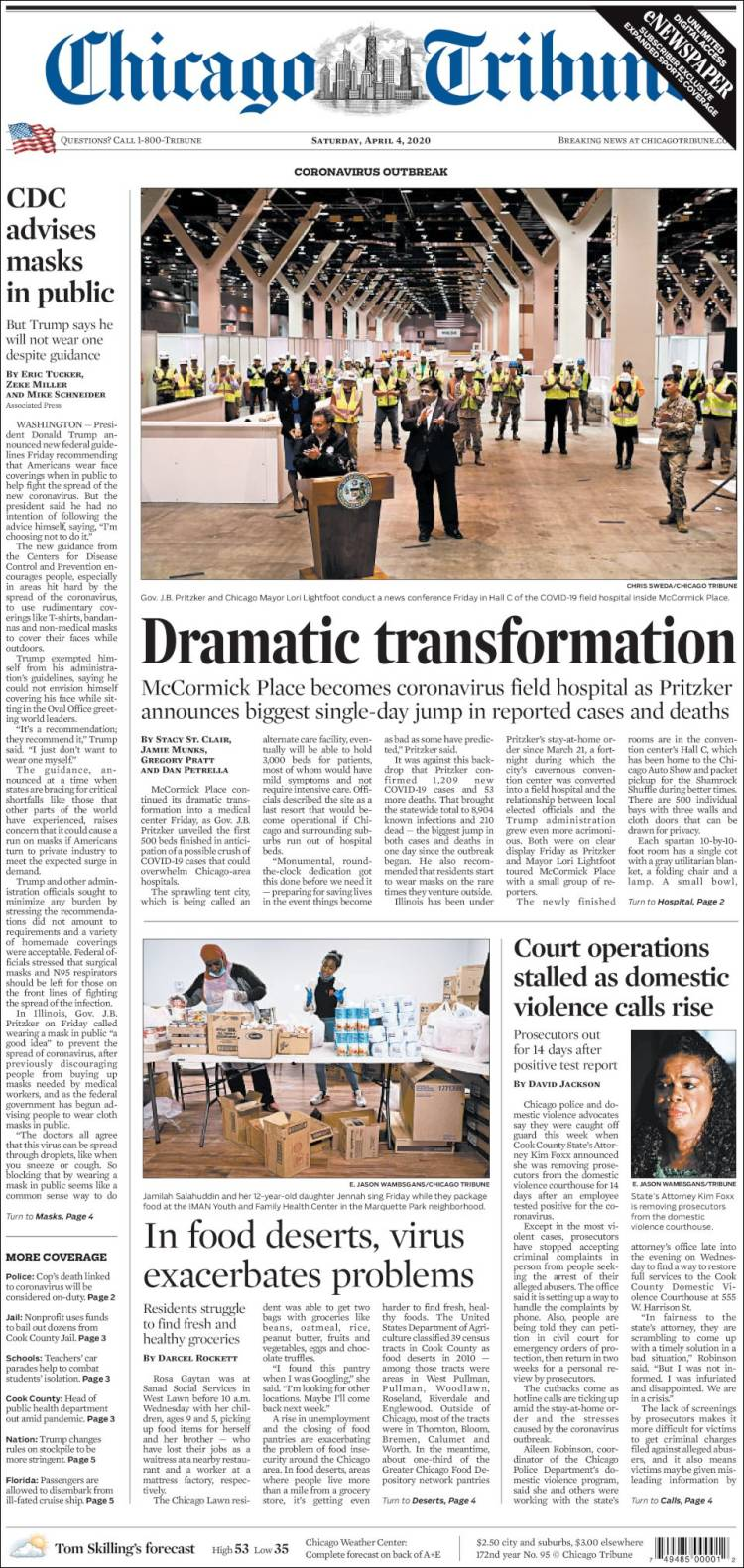 Portada de Chicago Tribune (USA)