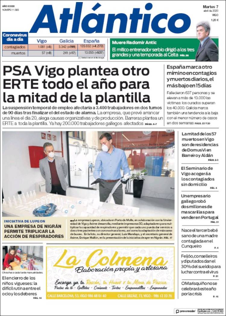 Portada de Atlántico Diario (España)