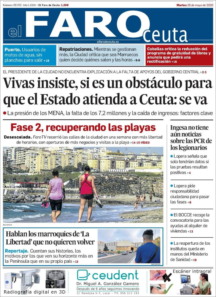 Portada de El Faro de Ceuta (España)