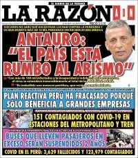 Portada de La Razón (Perú)