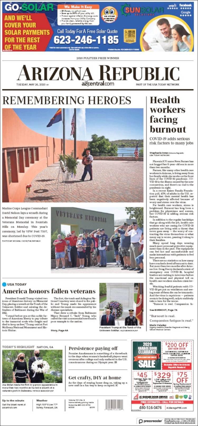 Portada de Arizona Republic News (États-Unis)