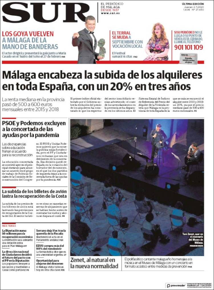 Portada de Diario el Sur (Spain)