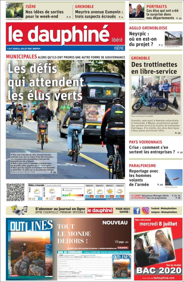Portada de Le Dauphiné Libéré (France)