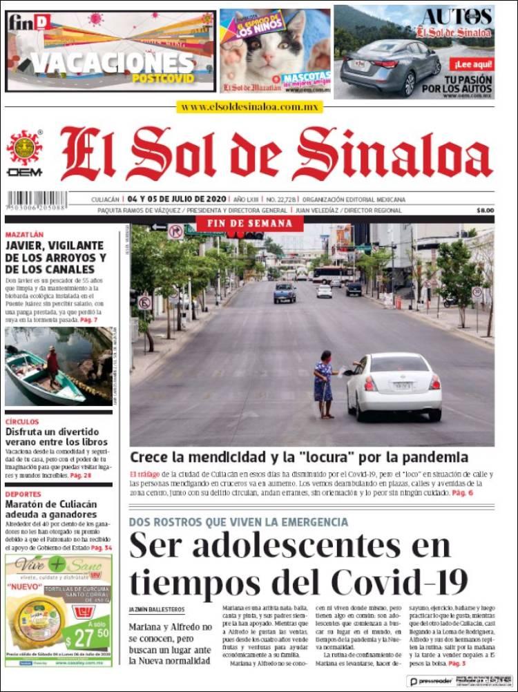 Portada de El Sol de Sinaloa (Mexique)