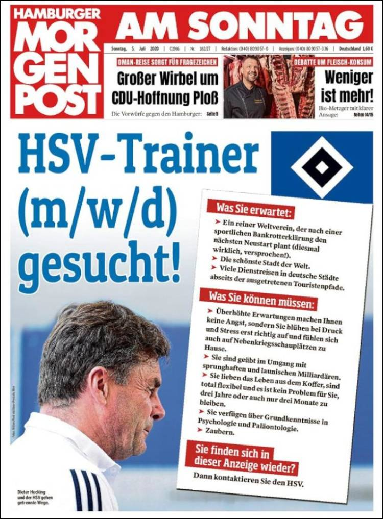 Portada de Hamburger Morgenpost  (Allemagne)
