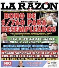 Portada de La Razón (Pérou)