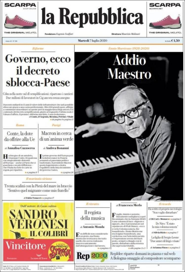Portada de La Repubblica (Italia)