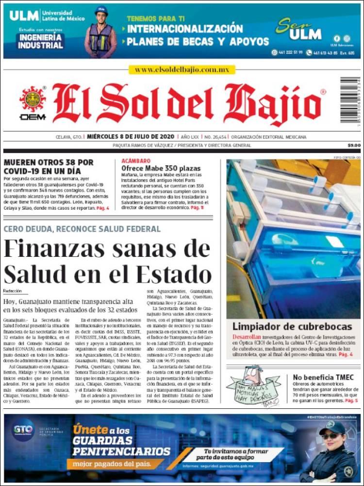 Portada de El Sol del Bajio (México)
