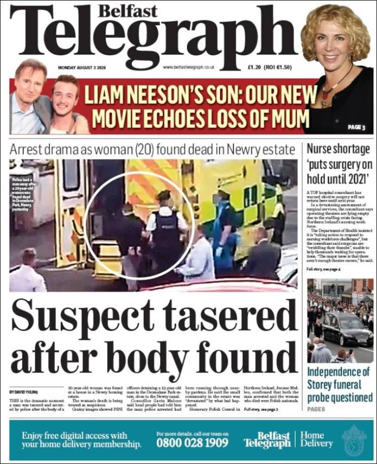 Portada de Belfast Telegraph (Royaume-Uni)