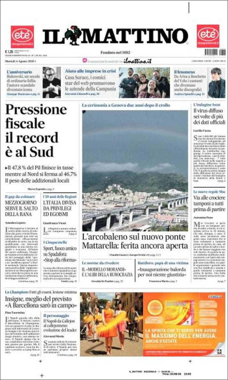 Portada de Il Mattino (Italy)