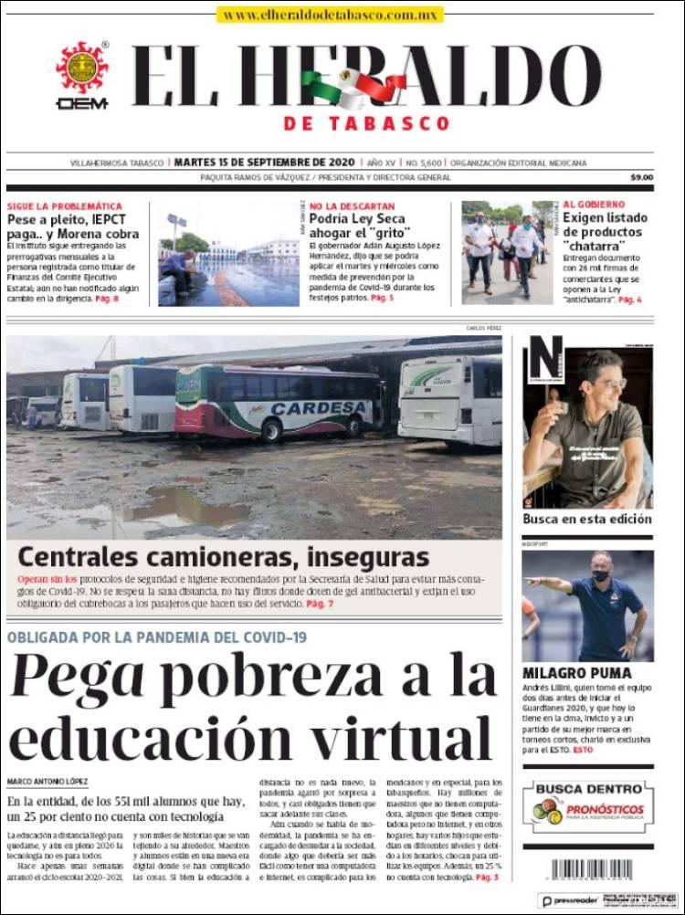 Portada de El Heraldo de Tabasco (Mexico)