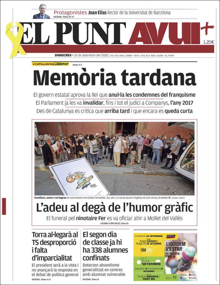 Portada de El Punt Avui (España)