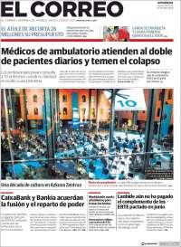 Portada de El Correo - Guipuzcoa (España)