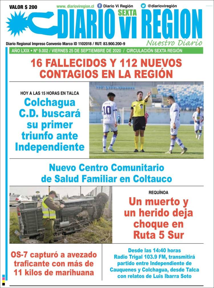 Portada de Diario VI Región (Chile)