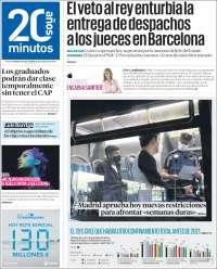 Portada de 20 Minutos - Madrid (España)