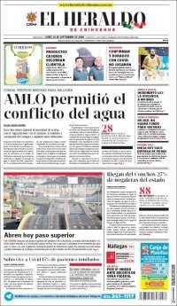 Portada de El Heraldo de Chihuahua (Mexico)