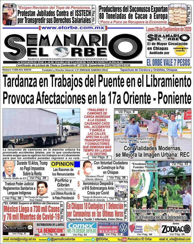 Portada de El Orbe (Mexico)