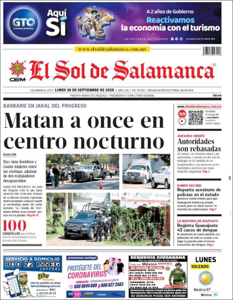 Portada de El Sol de Salamanca (Mexico)