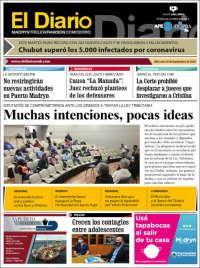 Portada de El Diario de Madryn (Argentina)