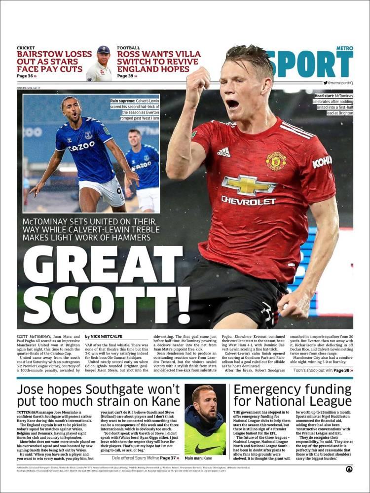 Portada de Metro Sport (Reino Unido)