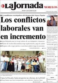 Portada de La Jornada - Morelos (México)