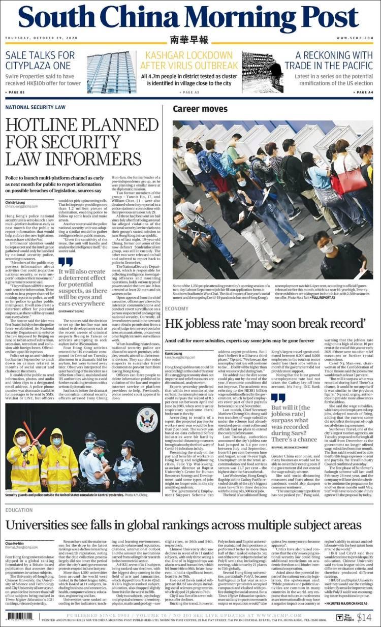 Portada de South China Morning Post (Chine)