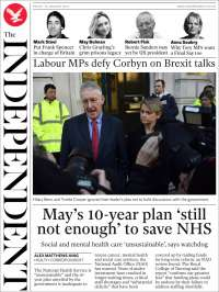 Portada de The Independent (Reino Unido)