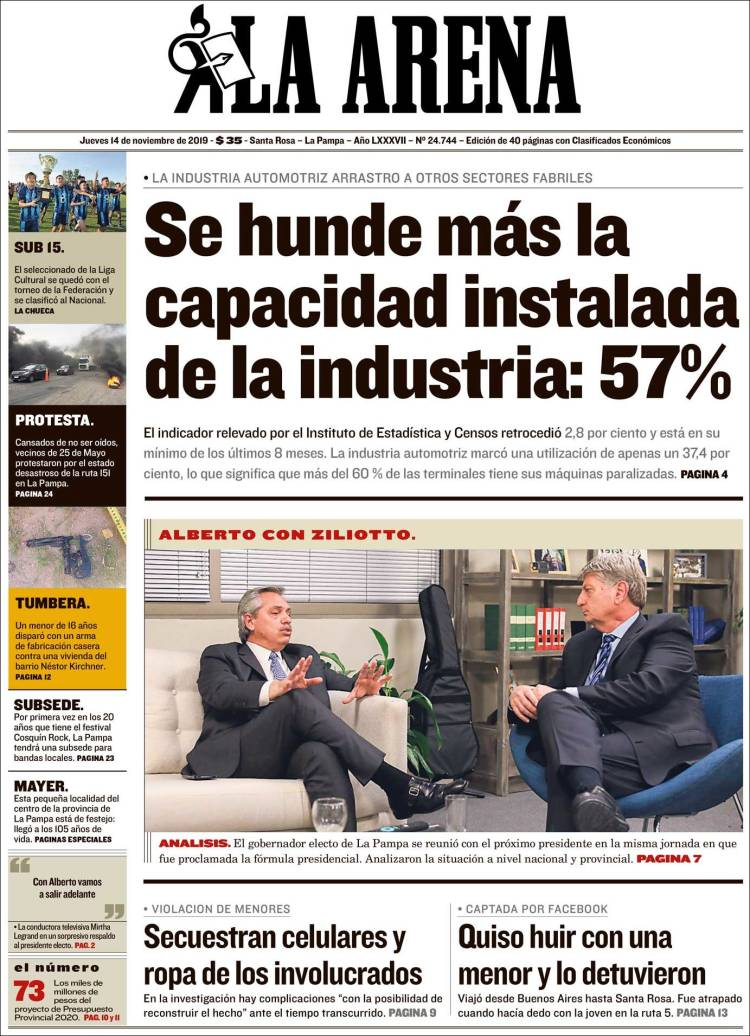 Periódico Diario La Arena Argentina Periódicos De Argentina Edición De Jueves 14 De Noviembre De 2019 Kiosko Net