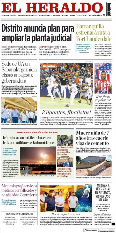 Portada de El Heraldo (Colombia)