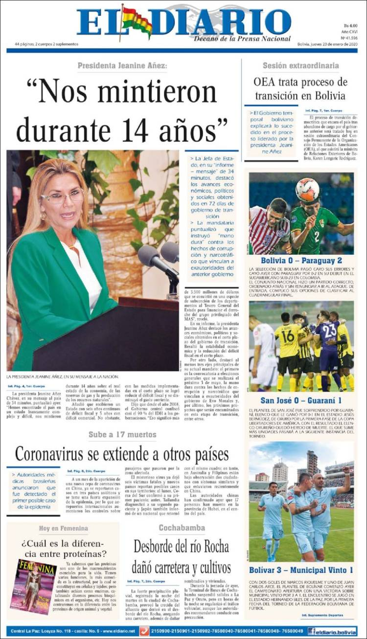 Portada de El Diario (Bolivia)