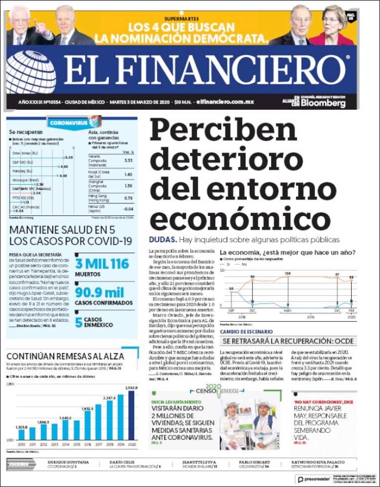 Portada de El Financiero (México)