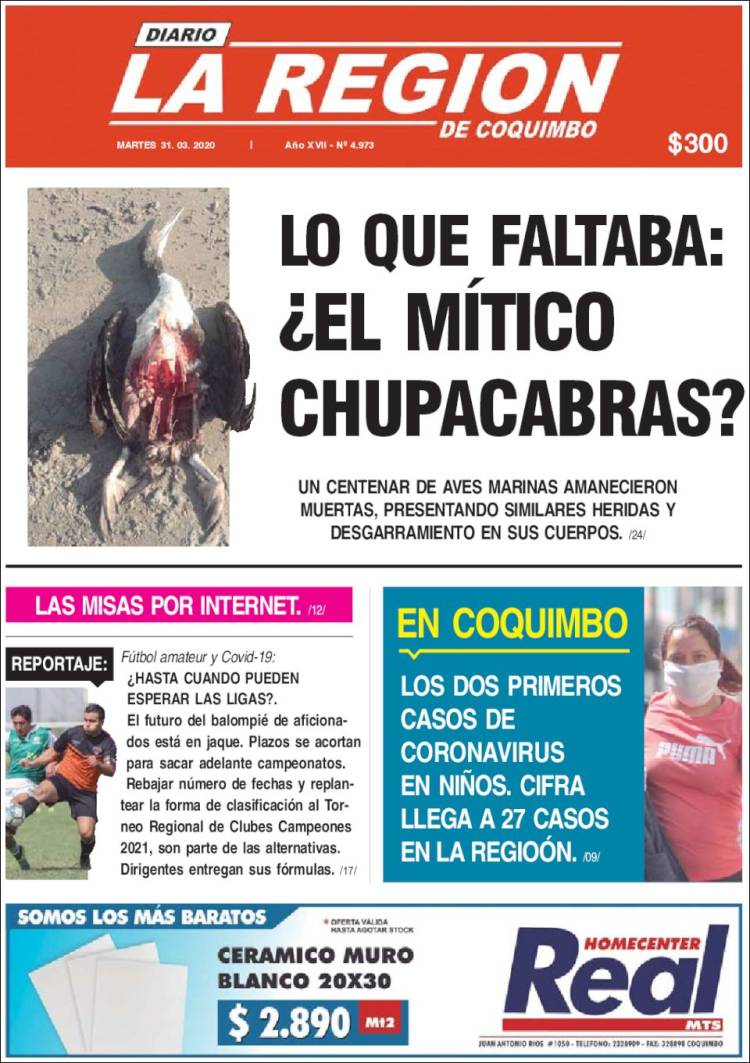 Portada de Diario La Región de Coquimbo (Chile)