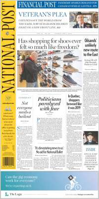 Portada de The National Post (Canadá)