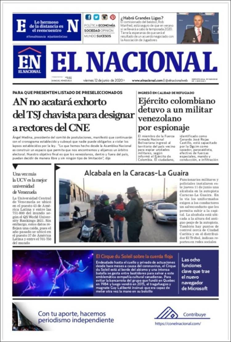 Portada de El Nacional (Venezuela)