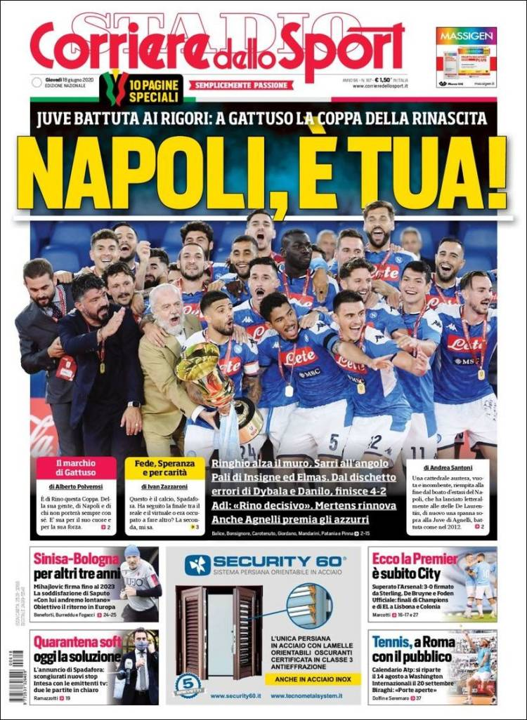 Newspaper Corriere Dello Sport Italy Newspapers In Italy Thursday S Edition June 18 Of 2020 Kiosko Net