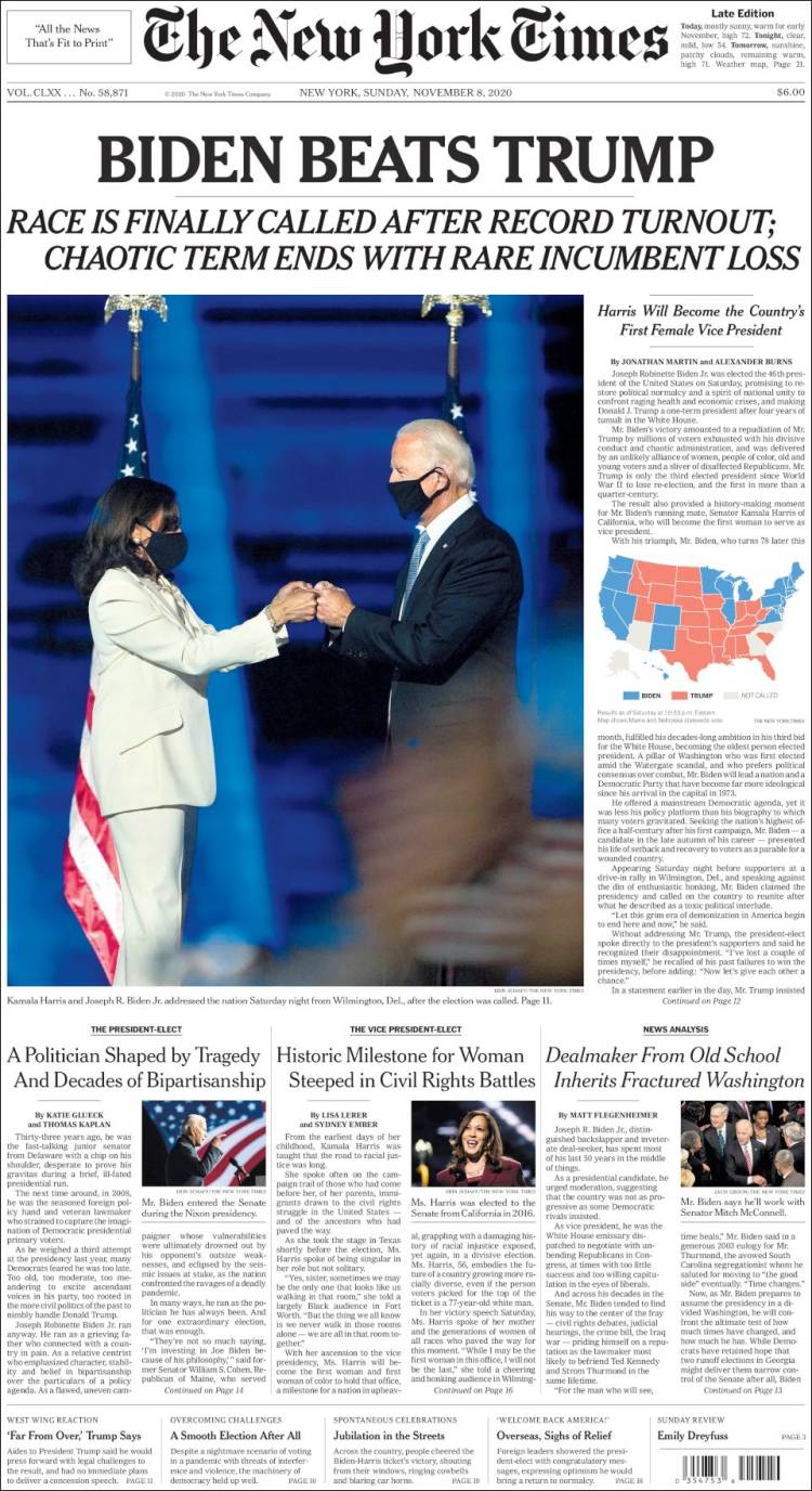 Sunday November 8th Washington Post Edition Special Edition BIDEN-HARRIS WIN
